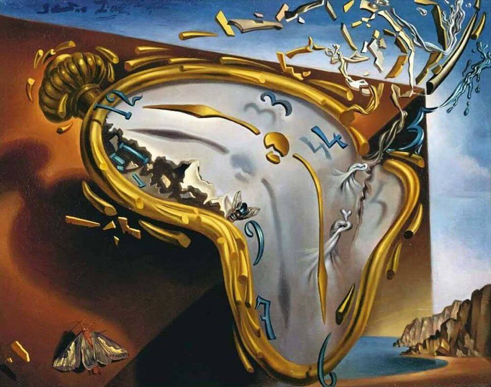 Dali's Melting Watch painting, showing a distorted watch with the numbers and metal pieces flying off.