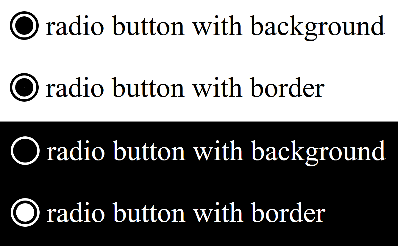 Two selected radio buttons shown side-by-side in and out of HCM. One of the radios selected indicator shows up in high contrast mode, and the other does not.