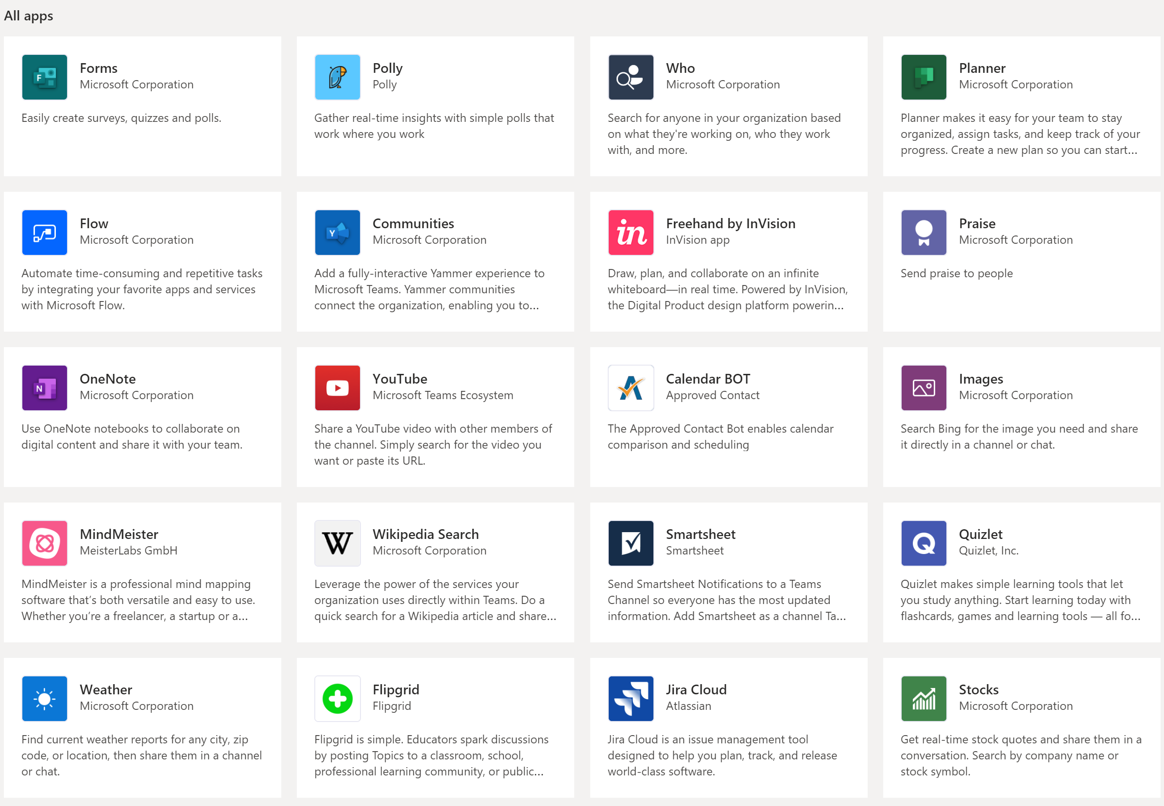 A screenshot of the Apps tab in Microsoft Teams, with a list of available apps laid out visually in a grid pattern.